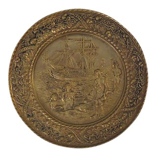 Vintage English Hammered Brass Ship Wall Plaque