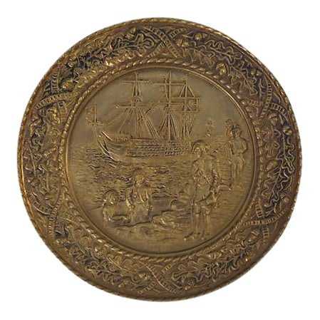 Vintage English Hammered Brass Ship Wall Plaque For Sale
