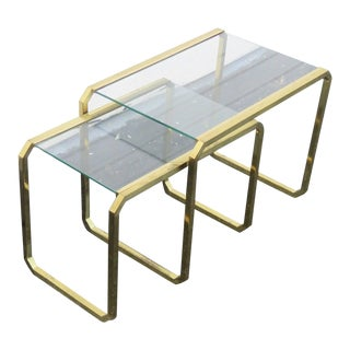 Hollywood Regency Distressed Nesting Tables Set of Two For Sale