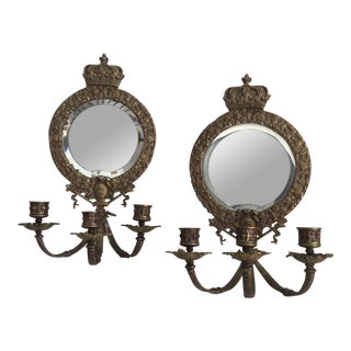 Antique Mirrored Sconces - a Pair