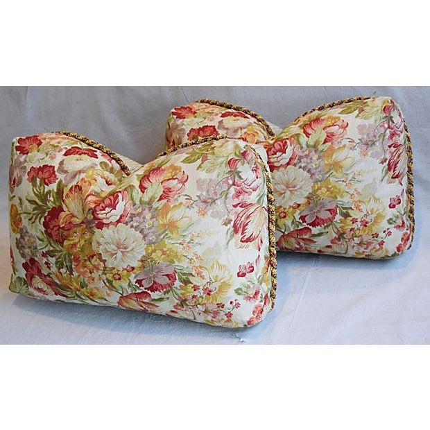 "24"" x 15"" Custom Tailored English Floral Linen Feather/Down Pillows - Pair - Image 6 of 11"