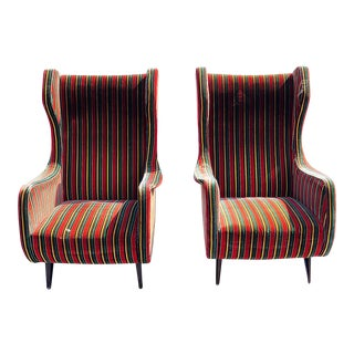 Pair of Mid Century Modern Wingback Chairs For Sale