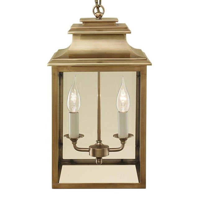 Art Deco 2 Candle Brass Lantern For Sale - Image 3 of 3