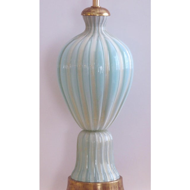 Italian A Large and Good Quality Murano 1950's Barovier & Toso Seafoam Green Lamp For Sale - Image 3 of 5