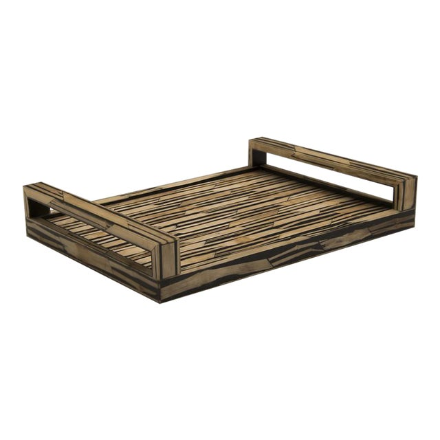 Malaysian Modern Bamboo Inlaid Serving Tray with Handles For Sale