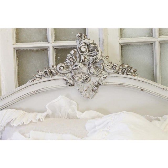 Antique French Louis XV White Walnut Bed - Image 6 of 6