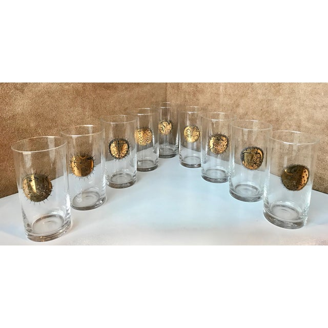 Mid-Century Gold Zodiacal Characters S/8 Glassware Set , Italy 1960s