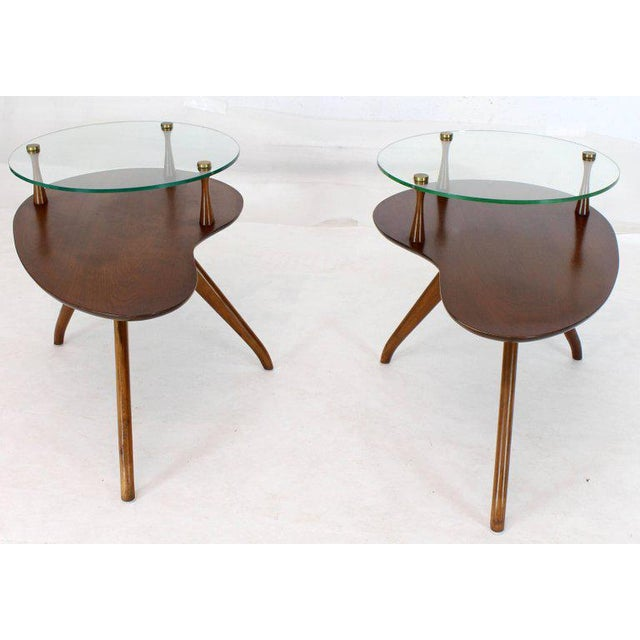 Pair of Kidney Organic Shape Two-Tier Tri-Legged Side Tables For Sale - Image 10 of 10