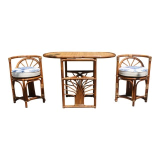Vintage 1960s Rattan and Bamboo Bistro Table & Chairs For Sale