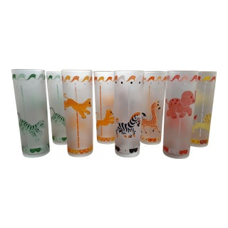 1950s Libbey Frosted Circus Carnival Tom Collins Glasses - Set of 8 For Sale