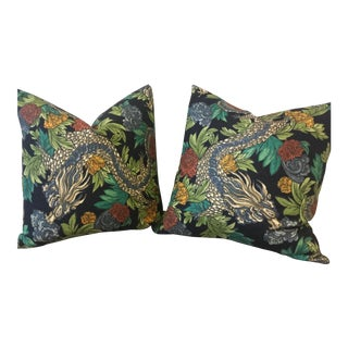 Ming Dragon Down and Feather Pillows - A Pair For Sale