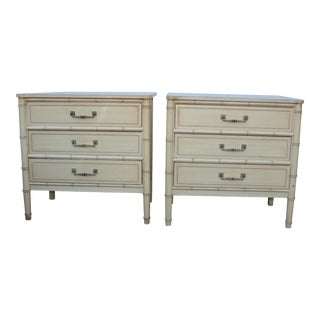1960s Hollywood Regency Henry Link Bali Hai Faux Bamboo 3 Drawer Nightstands - a Pair For Sale