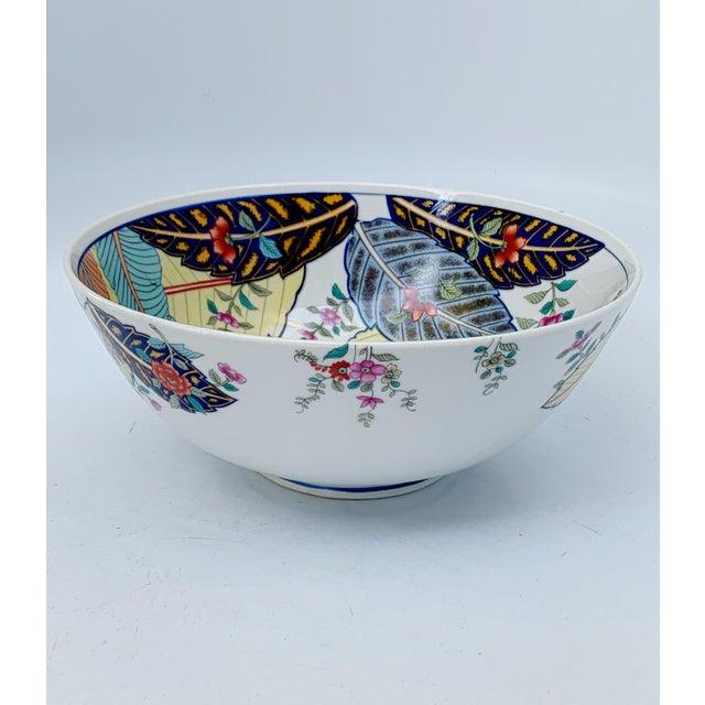 Chinoiserie Vintage Tobacco Leaf Fine China Medium Salads Serving Bowl For Sale - Image 3 of 13