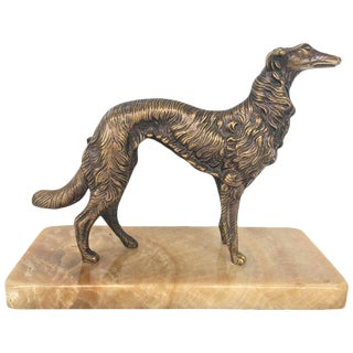 19th Century French Silver Patinated Bronze Greyhound