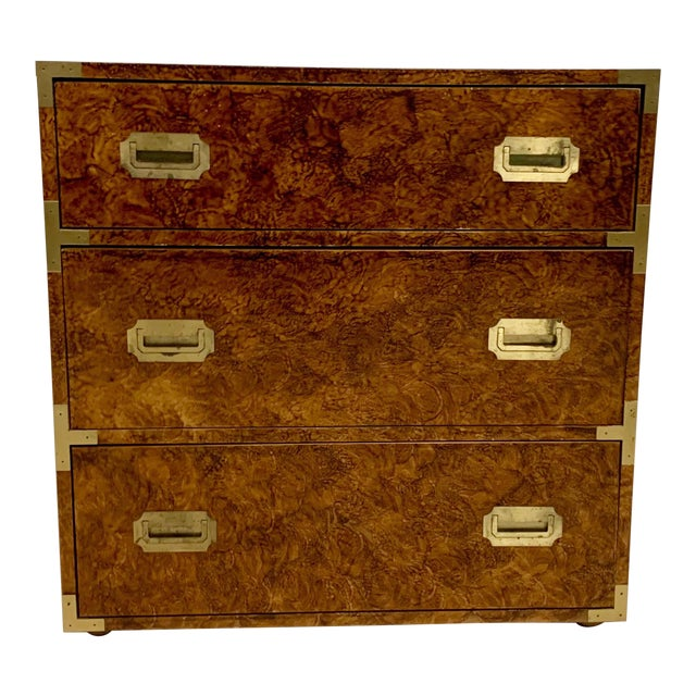 1970s Faux Tortoise Finished Campaign Dresser For Sale