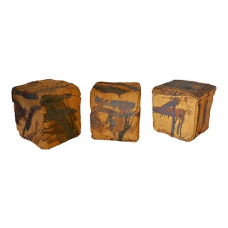 Set of 3 Ceramic Cubes 1960's