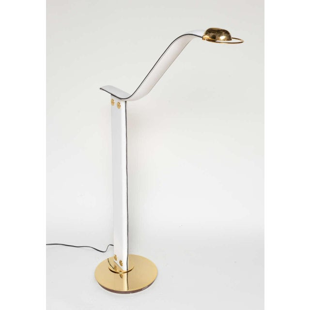 Italian An Italian Stitched Leather and Gold Plated Floor Lamp For Sale - Image 3 of 11