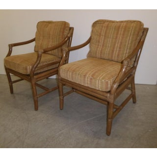 Pair of Vintage Mid Century Modern McGuire Tan Stripped Bamboo Accent Chairs Preview