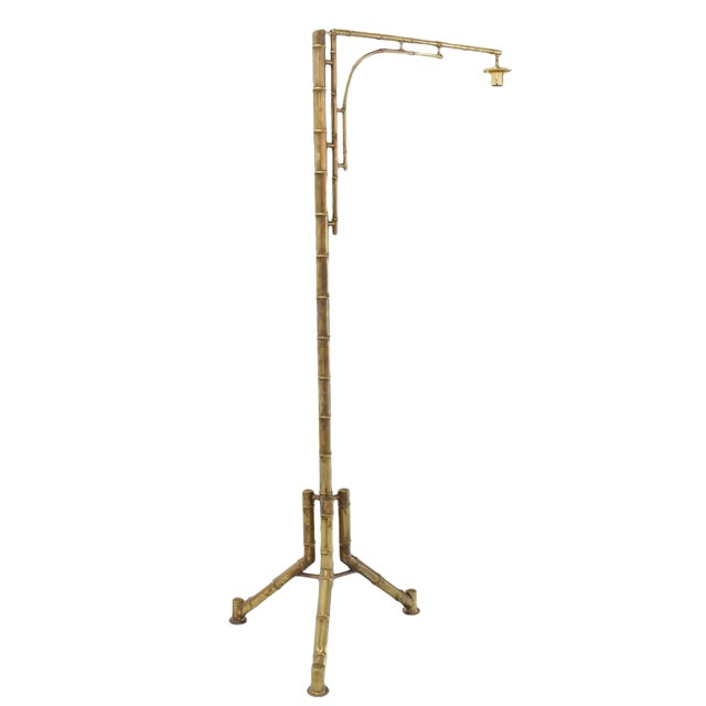 Tripod Base Faux Bamboo Floor Lamp For Sale