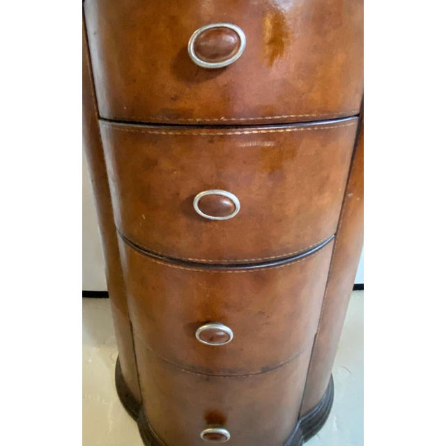 Traditional Regency Style Cigar Table, Stitched Leather and Inlaid Tray Top Manner Lauren For Sale - Image 3 of 13