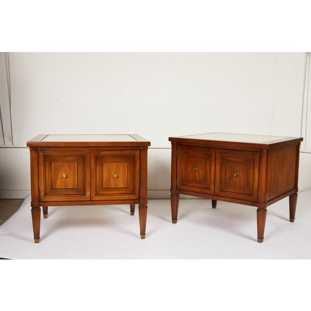 Midcentury Italian Walnut End Tables Inset With Travertine Tops For Sale - Image 12 of 12