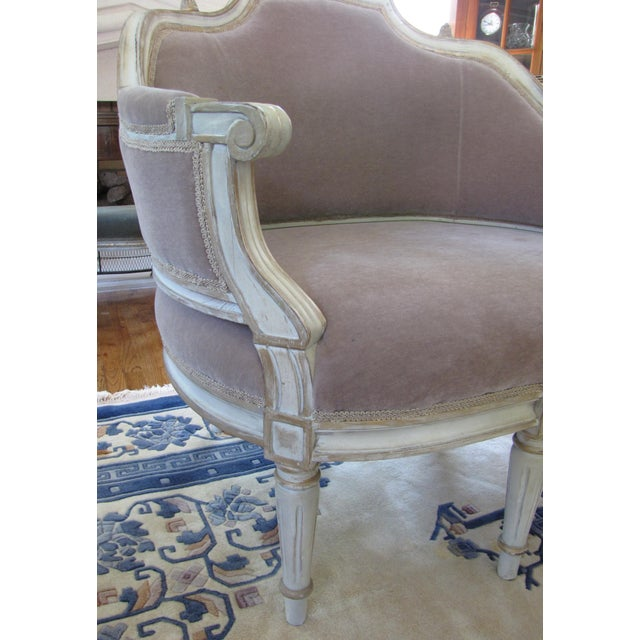 French Taupe Mohair Settee or Armchair - Image 5 of 5