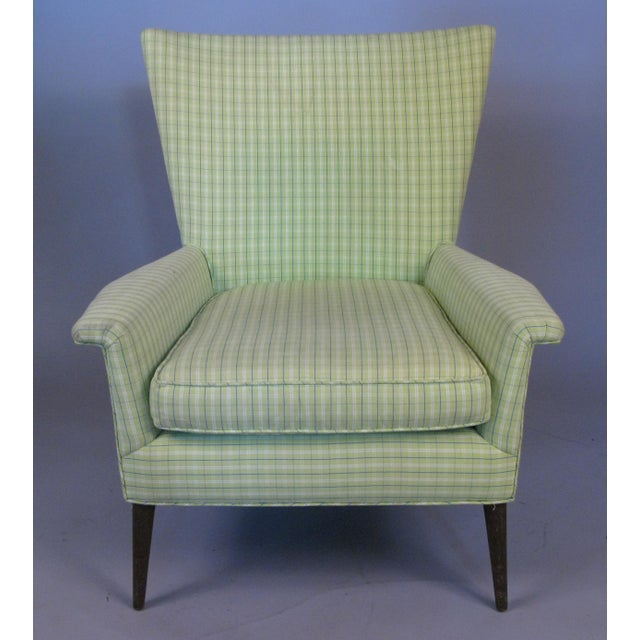 A handsome vintage 1950s high back lounge chair designed by Paul McCobb. Beautiful design and proportions, with great...