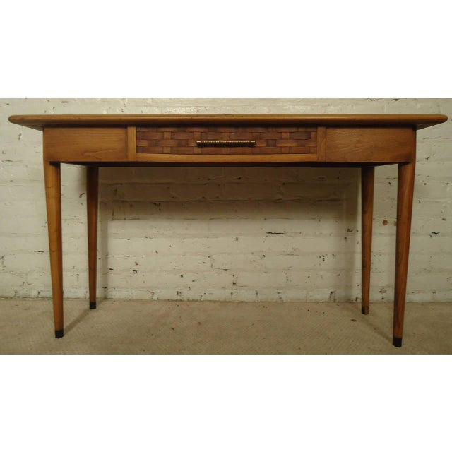 Mid Century Walnut Console Table with Marble Inserts