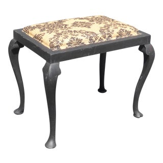 Vintage French Country Style Black & Beige Floral Damask Design Bench