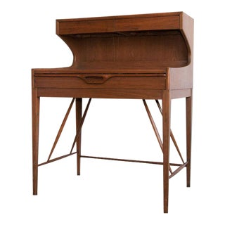 Mid-Century Modern Teak Secretaire Desk Styled After Arne Wahl Iversen