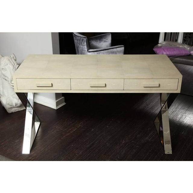 Genuine Shagreen Desk with Polished Chrome X-Band Base For Sale - Image 10 of 10