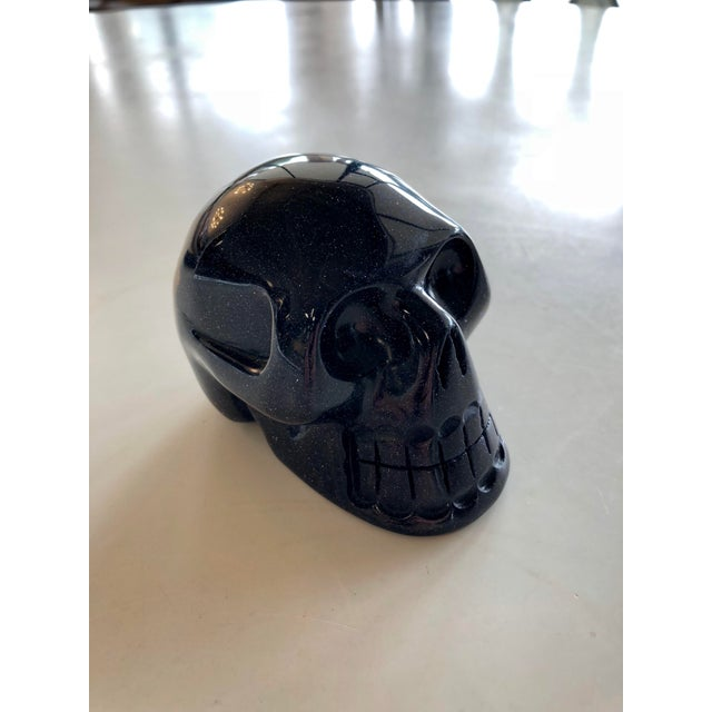 Modern Blue Goldstone Carved Skull Figure For Sale In Charleston - Image 6 of 6
