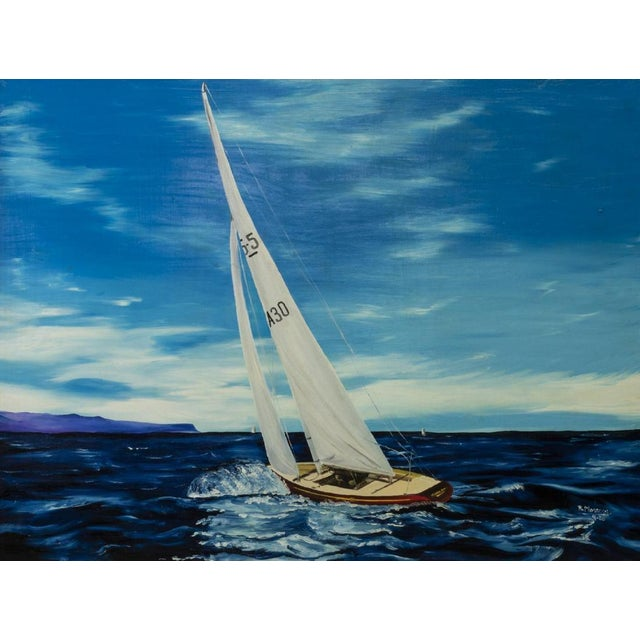 """""""Sailboat,"""" Framed oil painting on masonite board. Large rich and vibrant blue painting would pop in any room. Artist..."""
