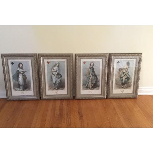 Beautiful set of deck of cards prints, framed in a silver double frame with a grayish blue silk mounting.
