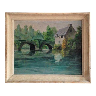 1960s Vintage French Gray House Next to Bridge Painting For Sale