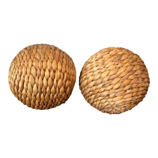 Seagrass Decorative Spheres, Pair For Sale