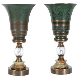 Art Deco Skyscraper Urn Form Patinated Bronze, Brass & Marble Uplights - a Pair For Sale