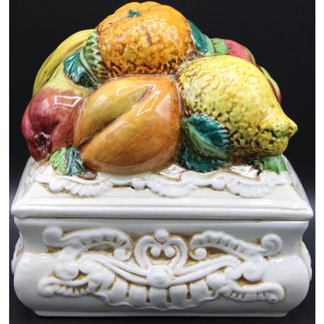 Italian Ceramic Fruit Lidded Box For Sale - Image 11 of 11