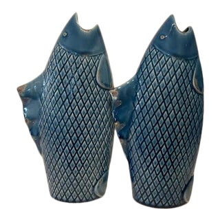 Blue Porcelain Fish - Set of 2 For Sale