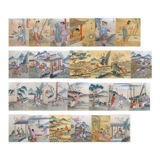 Chinese Hand-Colored Folio Books C. 1920 - Set of 3 For Sale
