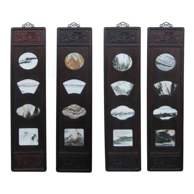 Chinese Dream Stone Scene Wall Panels - Set of 4 - Image 1 of 7