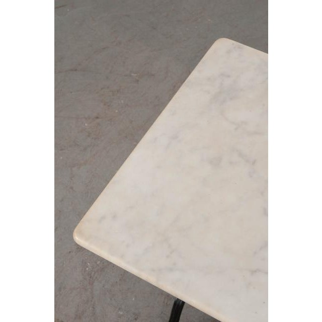 Iron French Early 20th Century Marble Top Garden Table For Sale - Image 7 of 11