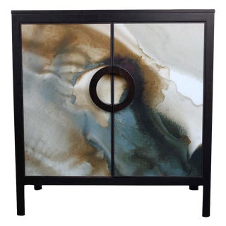 John Strauss & Blackbird Watercolor Chest Console For Sale
