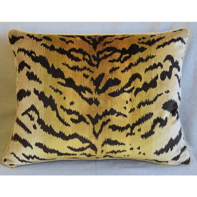 "Abstract Scalamandre Le Tigre Tiger Silk Velvet Feather/Down Pillow 23"" X 18"" For Sale - Image 3 of 8"