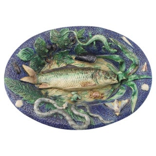 19th Majolica School of Paris Palissy Fish Wall Platter For Sale