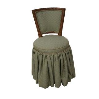 Quality Italian Walnut Swivel Vanity Chair For Sale