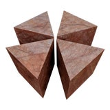 Image of Sculptural Pink Marble Triangular Side Table (4 Available) For Sale