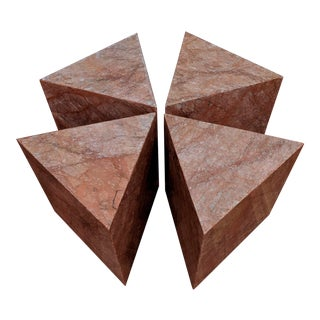 Sculptural Pink Marble Triangular Side Table (4 Available) For Sale
