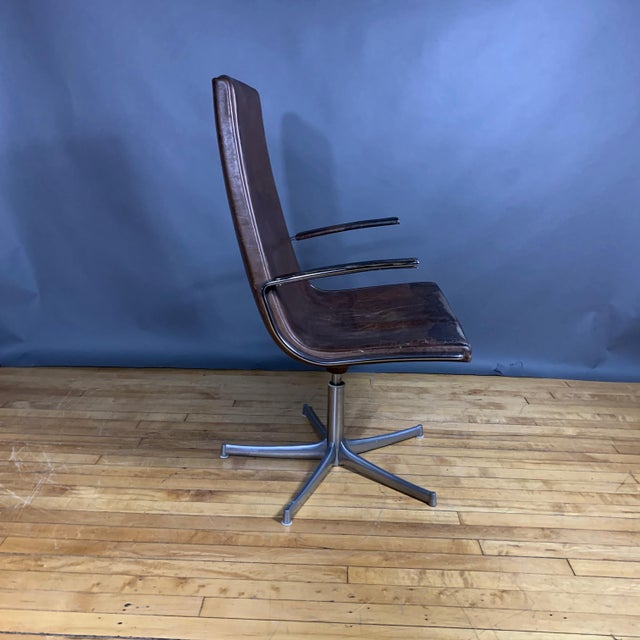 "Mid-Century Modern Fabricius & Kastholm ""Logos"" Leather Swivel Chair, 1970s For Sale - Image 3 of 12"