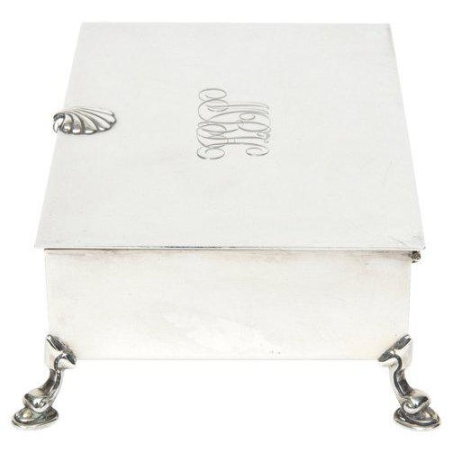 Metal Mid-Century Modern Tiffany Sterling Shell & Dolphin Box For Sale - Image 7 of 10